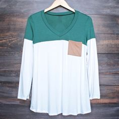 color block strip long sleeve shirt with suede elbow patch + pocket