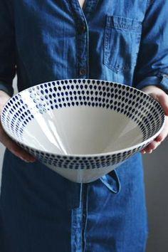 Indigo drop serving bowl