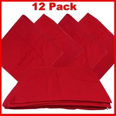 """Red Bandanas - Solid Color 27"""" X 27"""" (12 Pack)"""