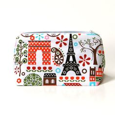 Summer in Paris Cosmetic Bag/Travel Bag with Colorful Eiffel Tower print - Limited Edition