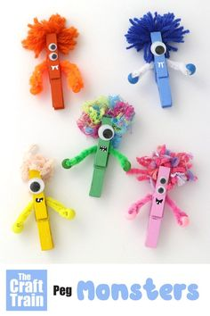Peg monster craft for kids. Paint pegs and decorate to look like monsters for Ha… Sponsored Sponsored Peg monster craft for kids. Paint pegs and decorate to look like monsters for Halloween – so cute! Love their fluffy yarn hair. Easy Crafts For Kids, Summer Crafts, Fall Crafts, Art For Kids, Craft Kids, Kids Diy, Crafts Toddlers, Holiday Crafts, Children Crafts