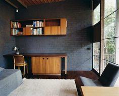 Robin Boyd's House II, 1958, dark grey + wood+ glass wall