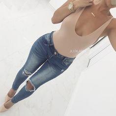 Side Reveal Tank Bodysuit + Lacey Jeans JLUXLABEL.COM