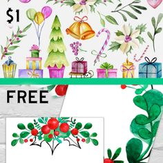 $1 deals // Free Christmas Holly 3×4 Journaling Cards