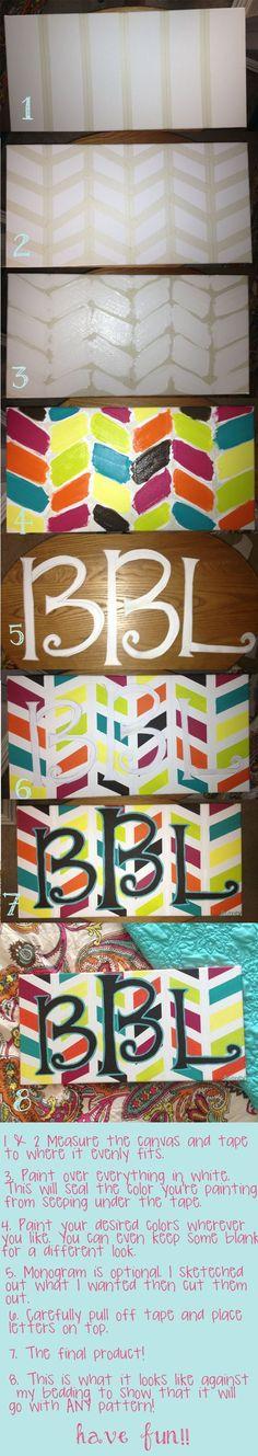Herringbone monogram canvas DIY by annabelle
