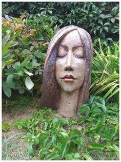 Dreamy - All For Garden Pottery Sculpture, Sculpture Clay, Garden Sculpture, Paper Clay Art, Paper Mache Crafts, Face Planters, Clay Figures, Pottery Studio, Garden Art