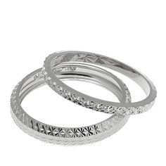 Sevilla Silver™ Set of 2 Diamond-Cut Stackable Rings