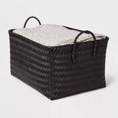 Decorative Storage Bins, Cube Storage, Storage Baskets, Novelty Lamps, Freestanding Mirrors, Black Basket, Copper Handles, Large Baskets, Room Essentials