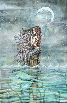 Items similar to Mystic Pearl - Mermaid Watercolor Illustration Fine Art Giclee Print 11 x 17 - Molly Harrison Fantasy Art on Etsy Mermaid Artwork, Mermaid Tale, Mermaids And Mermen, Wow Art, Merfolk, Fairy Art, Monster, Mythical Creatures, Watercolor Illustration