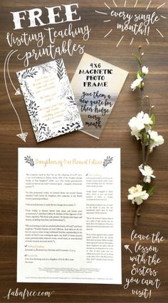 This makes Visiting Teaching SOOO easy!! Every single month, she makes a FREE 4x6 quote and full page lesson! These Free Visiting Teaching handouts are PERFECT to drop off to Sisters that are hard to get with and they will still know that you think of them every month!!