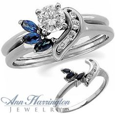 14k White or Yellow Gold Genuine Blue Sapphire And .07 ct tw Diamond Ring Wrap