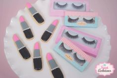 Lipstick Cookies and House of Lashes — Sweet Ambitions Lisa Johnson, House Of Lashes, Shaped Cookie, Birthday Cookies, Best Face Products, Girls Night, Cookie Decorating, Sugar Cookies, Girl Birthday