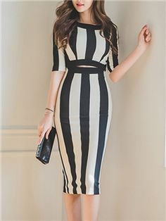 Ericdress Ladylike Stripe Sheath Dress