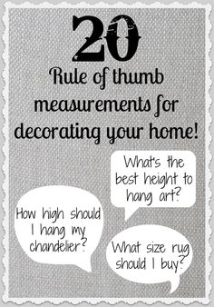 Measurement Highlights for Decorating Your Home