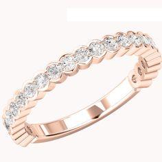 A stylish Round Brilliant Cut diamond set wedding/eternity ring in 18ct rose gold from Purely Diamonds www.purelydiamonds.co.uk