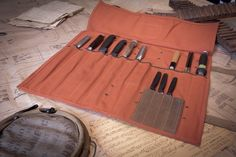 Terracotta canvas knife roll with leather trim – T.S. Prince & Company