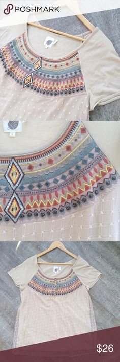 $22! Sale! Lilka (Anthro) Aztec tee w overlay Gently used Lilka (Anthropologie) Aztec tee w overlay. Tee is 60% Pima cotton (very soft!) and 40% modal. The overlay is 100% mesh nylon. Size M. Offers welcome! Anthropologie Tops Tees - Short Sleeve
