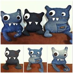 Terrific Cost-Free Another whole new line of hugs ! Handmade from recycled Jeans . Ideas I really like Jeans ! And a lot more I like to sew my very own Jeans. Next Jeans Sew Along I am pl Sewing Toys, Sewing Crafts, Sewing Projects, Upcycled Crafts, Jean Crafts, Denim Crafts, Artisanats Denim, Denim Ideas, Monster Dolls
