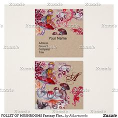 FOLLET OF MUSHROOMS Fantasy Floral Kraft Monogram Square Business Card #fantasy #floral #swirls #watercolor #autumn