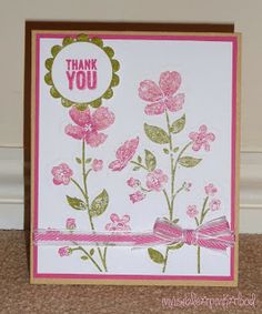 Thank you card using Stampin' Up Wildflower Meadow stamp and embossing folder set. Colours are Stampin' Up Old Olive and Melon Mambo along with Tim Holtz Worn Lipstick.