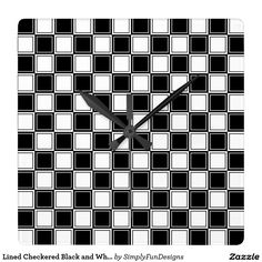 Lined Checkered Black and White Square Wall Clock