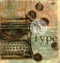 Vintage Typewriter, Mixed Media Drawing on Distressed, Dictionary Page