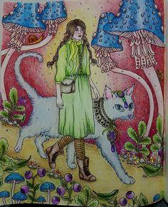 """Let's go for a walk"" -The Girl with her Cat in Hanna Karlzon's book ,  Tidevarv.  #tidevarv #hannakarlzon #prismacolorpremier #adultcoloringbook #coloringbookforadults #coloringmasterpiece #coloring_secrets #coloring_repost #arte_e_colorir #artecomoterapia #bayan_boyan"