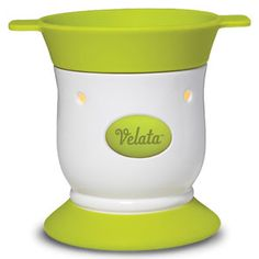 Key Lime Pedestal Velata Fondue Warmer  This lovely warmer is accented by a perfect pop of green.  Warmer price includes 4 forks.
