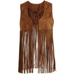 Vila Vitulle - Fringe Waistcoat (420 DKK) ❤ liked on Polyvore featuring outerwear, vests, jackets, vest, oak brown, waistcoat vest, tall vest, vila, fringe vest and brown fringe vest