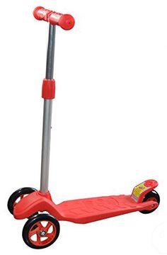 Vinsani Mini Kick Children Kids 3 Wheels With Brake Adjustable Height Mini Scooter (red)