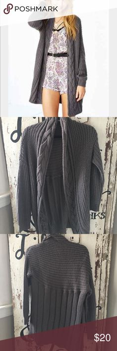 UO Kimichi Blue Grey Braided Knit Cardigan Grey braided Knit Cardigan, worn once Urban Outfitters Sweaters Cardigans
