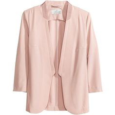H&M Figure-fit jacket ($21) ❤ liked on Polyvore featuring outerwear, jackets, blazers, h&m, pink, three quarter sleeve blazer, pink blazer, pink blazer jacket, lapel jacket and 3/4 sleeve blazer