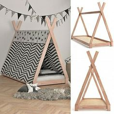 Teepee Tent Bed Frame Wooden Children Cabin Bed Kids Sigle Bed Tipi Bedstead New : Picture 2 of 10 Diy Tipi, Diy Teepee Tent, A Frame Tent, Bed Frame, Cabin Beds For Kids, Bed For Dogs, Wooden Teepee, Bed Tent, Teepee Dog Bed