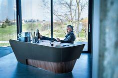 Karim Rashid's plush furniture collection for Riva 1920 and Lamborghini Office Table Design, Reception Desk Design, Office Interior Design, Office Interiors, Karim Rashid, Dark Furniture, Luxury Furniture, Modern Furniture, Furniture Design