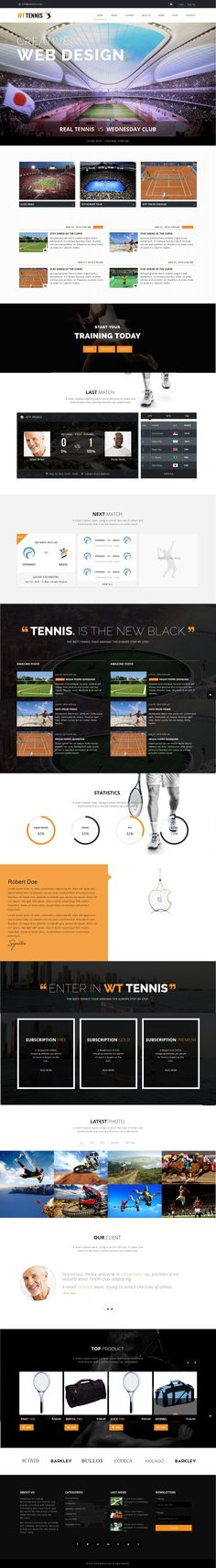 WT #Tennis is the best Sport #HTML theme As you can see for yourself, it has a powerful adrenaline vibe to it, with a very dynamic homepage slider and bold typography, giving this #sport #HTML theme a sharp & modern feel. #website #AnnaKournikova