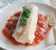 Recette de Filet de cabillaud, concassée de tomates à la coriandre