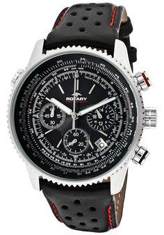 834973cba Rotary GS00100/04 Men's Aquaspeed Chronograph Black Dial Black Genuine  Leather
