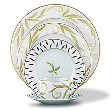 Bernardaud Frivole Dinner Plate - shown with charger and bread and butter plate Lux Bond & Green