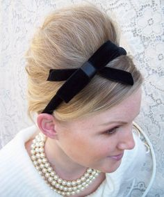 Small Black Velvet Headband with Bow by BelindaAvant on Etsy, $34.00
