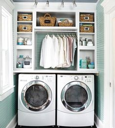 """232 Likes, 6 Comments - Done & Done Home (@doneanddonehome) on Instagram: """"Can we talk about how dreamy this laundry room is? From the baskets to the hanging bar for easy…"""""""