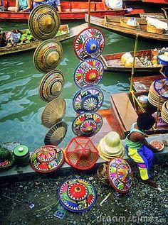 Hats at a local floating market near Bangkok, Thailand.
