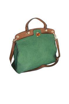 Bolso maletín de asa corta en verde y marrón con cierre tipo carey. Maletin  para 770fc46e2a80