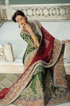 Pakistani Bride!! Beautiful Lengha/ Unique Beauty and Authentic to Only Pakistan!!! Check Check!!!!
