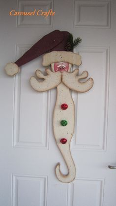 Rustic Wood Santa door hanging