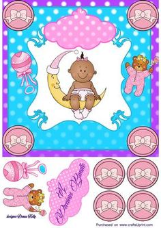 polka dot baby girl on Craftsuprint designed by Donna Kelly - pretty baby card front, includes polka dot tagand, decoupage. Approx 7x7 - Now available for download!