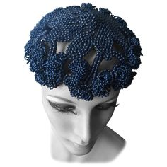 Bes-Ben  NavyBlue Beaded Hat 1959   From a collection of rare vintage hats at https://www.1stdibs.com/fashion/accessories/hats/