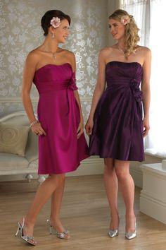 Pink Purple Knee Length Strapless Sheath/Column Taffeta