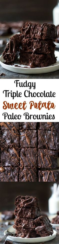 Ultra fudgy triple chocolate Paleo sweet potato brownies packed with chocolate flavor and made with good for you ingredients! Gluten free, dairy free.