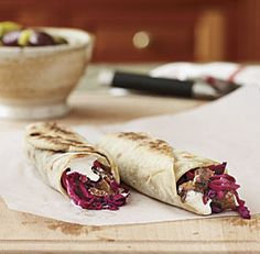Braised Lamb Shawarma (flatbread sandwiches) with Tahini Sauce & Pickled Red Cabbage - Fine Cooking