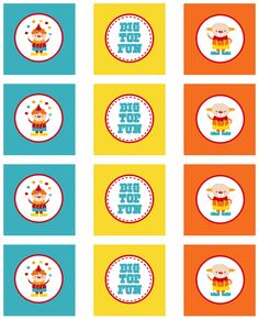 Circus Party Cupcake Toppers Free Printables
